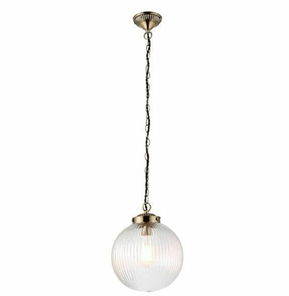 Brydon Pendant ribbed round glass, decorative chain finished in antique brass